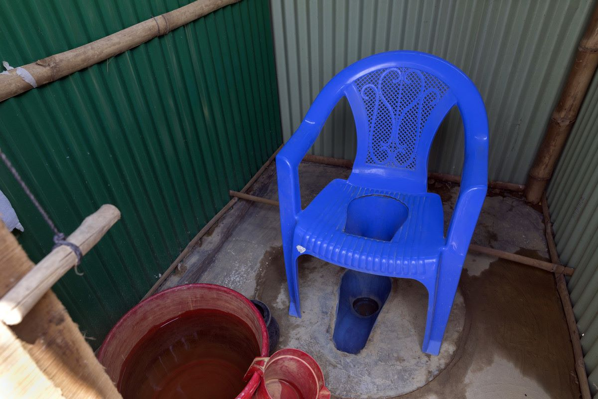 A modified toilet for older people at Age International's Age Friendly Space in Bangladesh