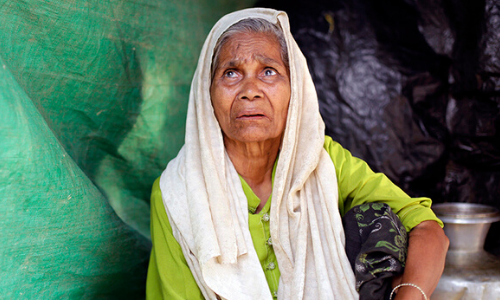An older Rohingya woman in Cox's Bazar refugee camp, Bangladesh