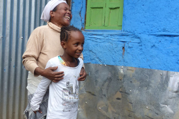Grandmother Aselefech with the granddaughter she cares for in Ethiopia