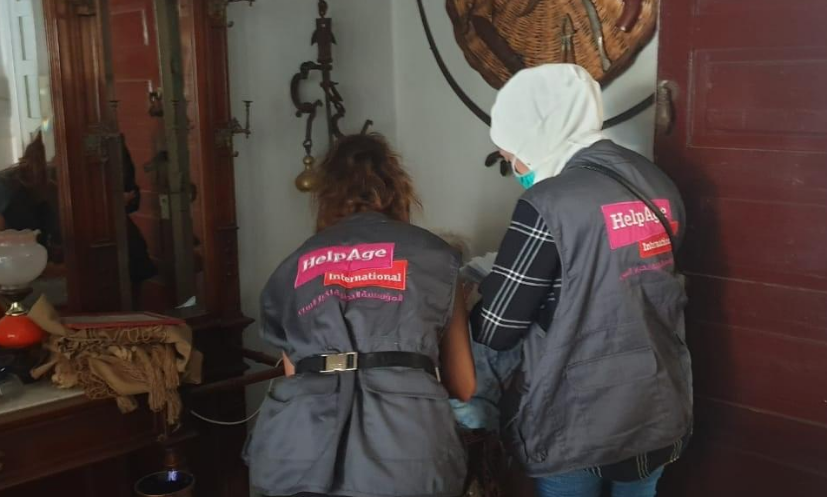 HelpAge Lebanon team at a home destroyed by the blast