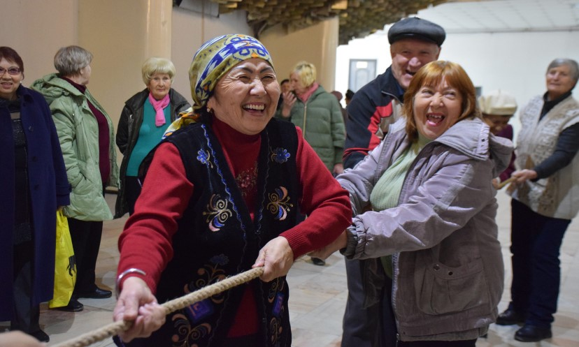 At the ADA on Health 2017 event in Bishkek, Kyrgyzstan, members of self-help group of older people from Chui take part in sports competitions.
