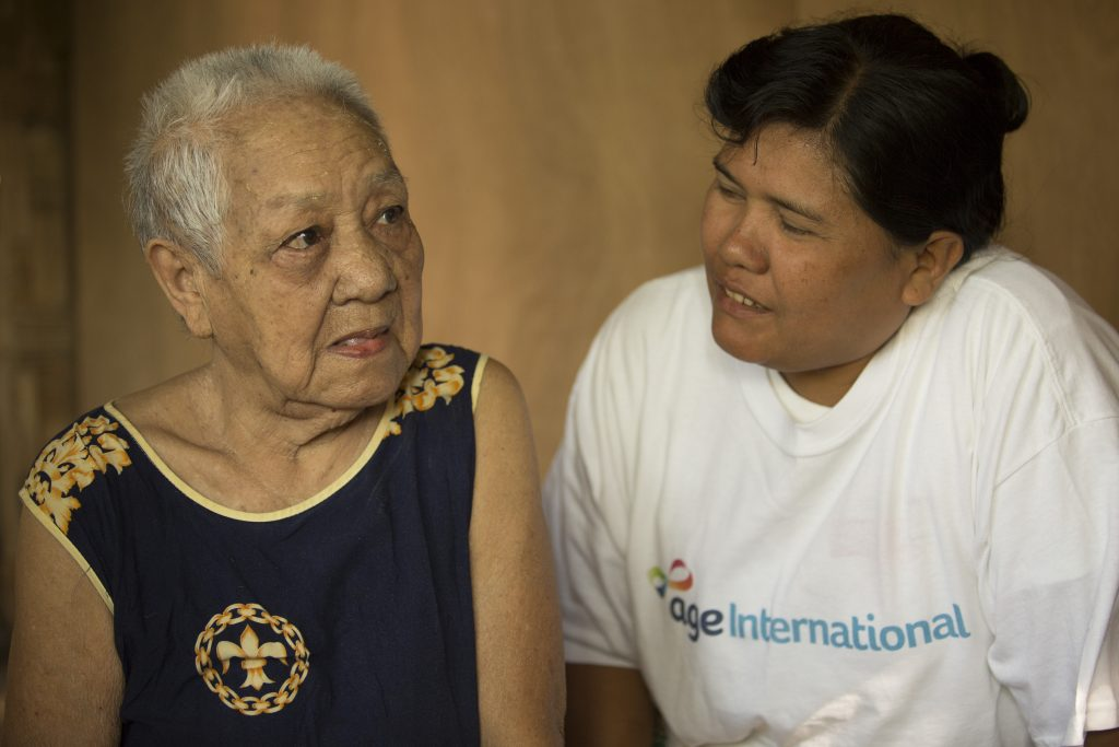 Daw Khin is a homecare volunteer and visits Daw Tin Hia once a month.